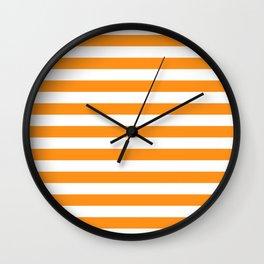Sacral Orange and White Stripes Wall Clock