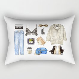 watercolor sketch. woman fashion outfit Rectangular Pillow