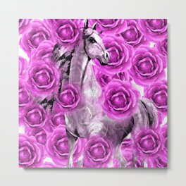 WHITE HORSE AND PINK ROSES Metal Print