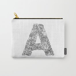Floral Type - Letter A Carry-All Pouch