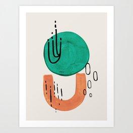 'Bounce' Minimalist Mid Century Modern Funk Fun Colorful Shapes Patterns Emerald Green Tan by Ejaaz Haniff Art Print