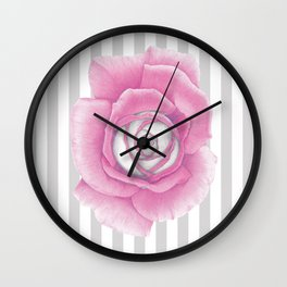 Pink Rose on Stripes Wall Clock