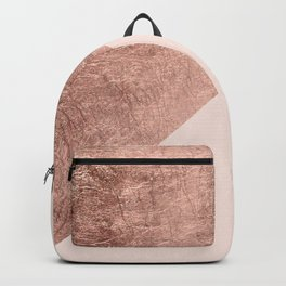 Minimalist blush pink rose gold color block geometric Backpack