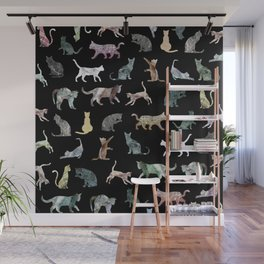Cats shaped Marble - Black Wall Mural