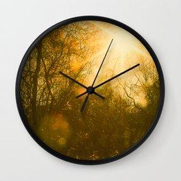 Golden Yellow Autumn Sunlight Wall Clock