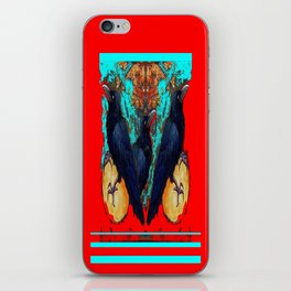 Crow-Ravens Family Red Southwest Style Abstract iPhone Skin