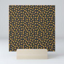 Irregular Small Polka Dots blue and yellow Mini Art Print