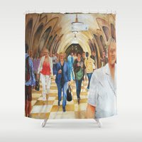 moscow Shower Curtains featuring Moscow Metro by Eli Gross Art