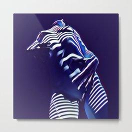 1570s-AK Sexy Blue Art Nude by Window Blind Blue Glow on Fit Body Metal Print