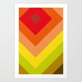 Squares, concentric squares. With a lot of shades of red and orange and brown and green and yellow. Art Print