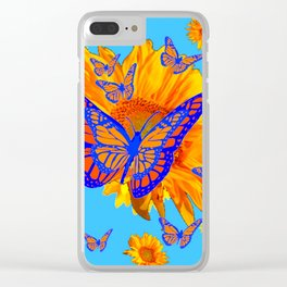 BABY BLUE COLOR & BLUE-GOLD MONARCH BUTTERFLIES Clear iPhone Case