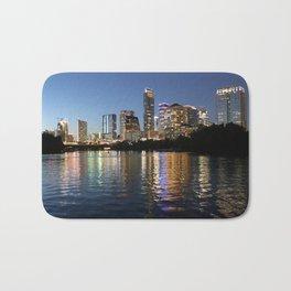 Austin, Texas skyline - city lights Bath Mat