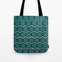 hexagon Tote Bags featuring hexagon by vidikay