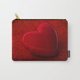 The red Heart shape on red abstract light glitter background Carry-All Pouch