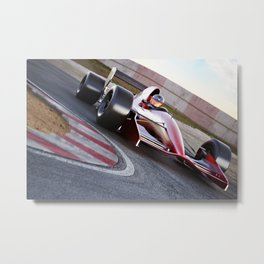 Race car in turn Metal Print