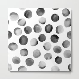 Black Watercolor Dots Metal Print