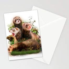 Four Ferrets in Their Wild Habitat Stationery Cards