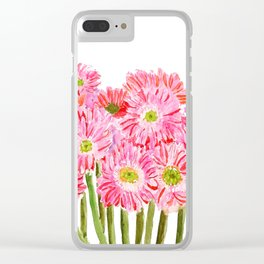 Pink Gerbera Daisy watercolor Clear iPhone Case