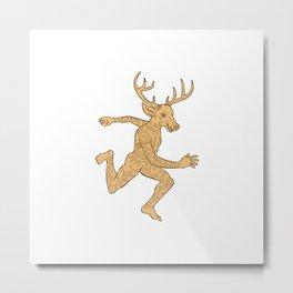 Half Man Half Deer With Tattoos Running  Metal Print