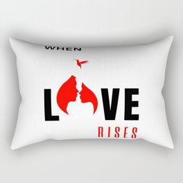 When Love Rises White-Red Rectangular Pillow
