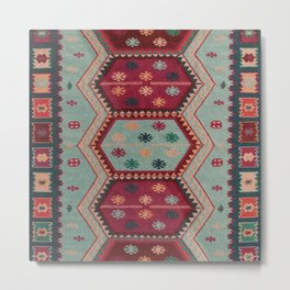 V31 Traditional Colored Moroccan Carpet. Metal Print