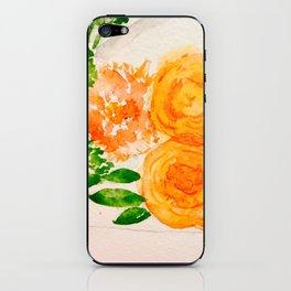 Orange Watercolor Roses iPhone Skin