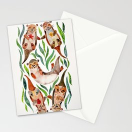 Five Otters – Green Seaweed Stationery Cards