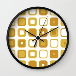 Rounded Squares Geometric Pattern in Mustard Yellows and White Wall Clock