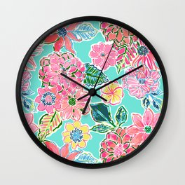 Fun Bright Whimsical Preppy Floral Print / Pattern Wall Clock