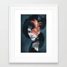 Red Flowers/Lady Portrait Framed Art Print