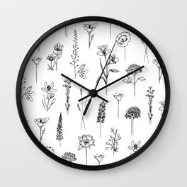 Patagonian wildflowers white Wall Clock