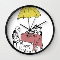 tarot Wall Clocks featuring Tarot Reader by hannah koslosky