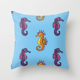 Sea Horse Pattern Throw Pillow