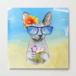Aloha Cat // sphynx cat on holiday at the beach Metal Print