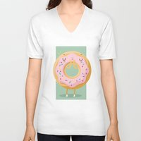 donut V-neck T-shirts featuring Donut by Maria Jose Da Luz