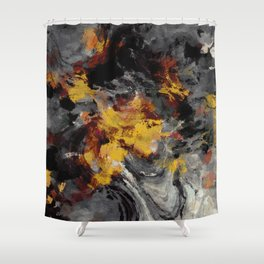 Yellow / Golden Abstract / Surrealist Landscape Painting Shower Curtain