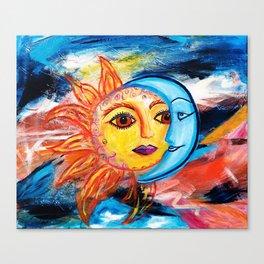 Sun and Moon United Canvas Print