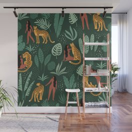 Nature Leopard Girl Wall Mural