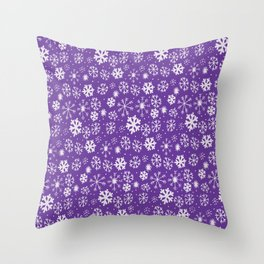 Snowflake Snowstorm With Purple Background Throw Pillow