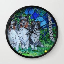 Three Shelties Wall Clock
