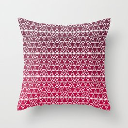 Triangles in triangles on red Throw Pillow