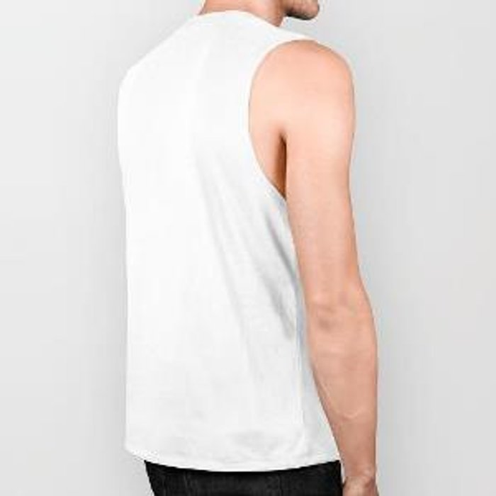 Riptide: an abstract mixed media piece in black, white, brown and blue Biker Tank