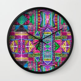 Tribal Patchwork Pink Wall Clock