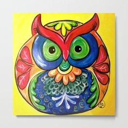 Colorful Folk Art Owl Metal Print