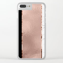 Rose metallic striping - marble and onyx Clear iPhone Case