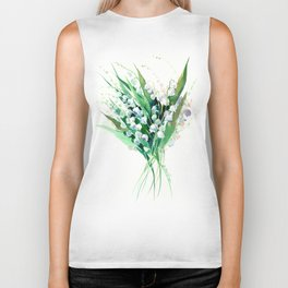 Lilies of the Valley. spring flowers, green white floral art Biker Tank