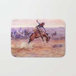 """Bucking Bronco"" by Charles M Russell Bath Mat"