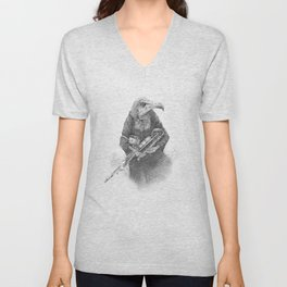 Hooded Vulture with Uilleann Pipes by Pia Tham Unisex V-Neck