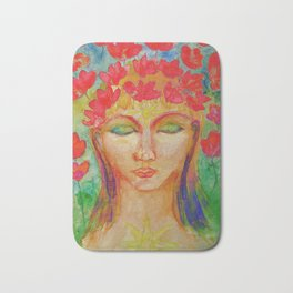 Psychedelic female buddha with lotus flowers Bath Mat