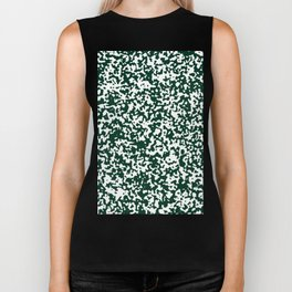 Small Spots - White and Deep Green Biker Tank